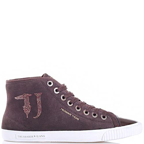 Высокие кеды Trussardi Jeans из замши коричневого цвета, фото