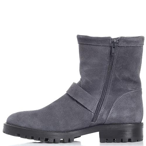 Замшевые ботинки Trussardi Jeans серого цвета на толстой подошве, фото