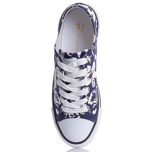 Синие кеды Trussardi Jeans с цветочным принтом, фото