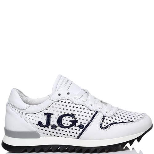 Белые кожаные кроссовки Galliano с перфорацией, фото