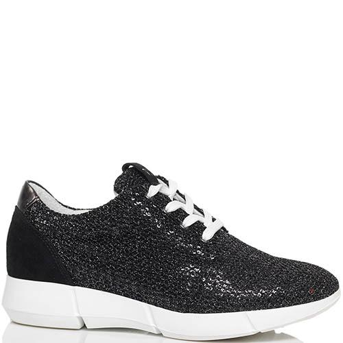 Замшевые кроссовки черного цвета Trussardi Jeans расшитые пайетками, фото