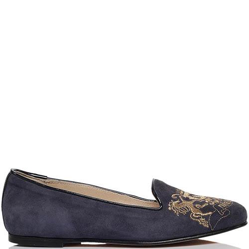 Замшевые лоферы синего цвета Nila&Nila с фирменной вышивкой, фото