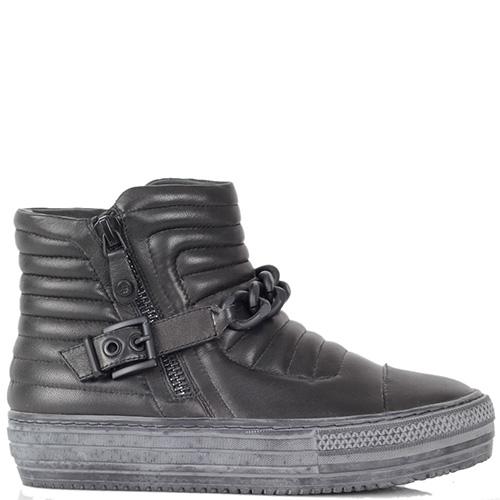 Ботинки Massimo Santini из натуральной кожи черного цвета на гранжевой подошве, фото