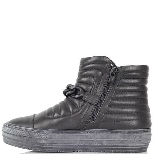 Ботинки Massimo Santini из кожи черного цвета на гранжевой подошве, фото