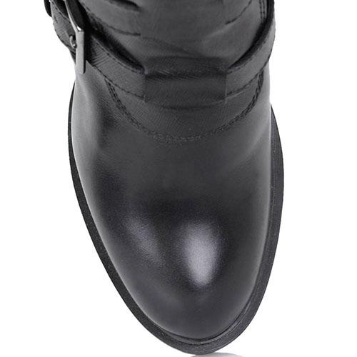 Кожаные сапоги Gianfranco Butteri черного цвета со вставкой-резинкой и декоративными ремешками, фото