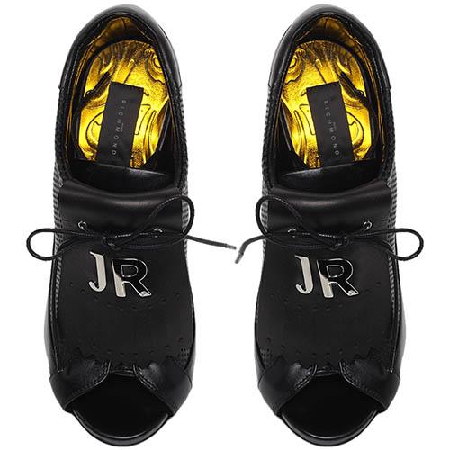 Шутис из перфорированной кожи черного цвета Richmond на высоком каблуке, фото
