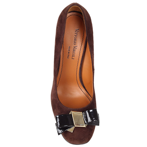 Замшевые туфли Vittorio Virgili коричневого цвета на устойчивом каблуке, фото