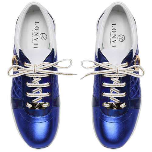 Кожаные кроссовки синего цвета с металлическим блеском Lonvie, фото