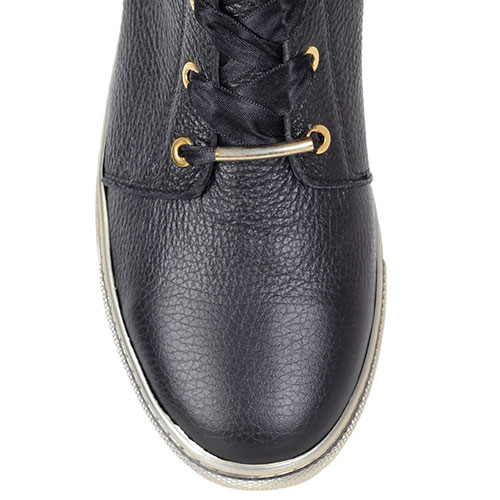 Зимние кожаные ботинки Trend BB черного цвета на золотистой подошве, фото