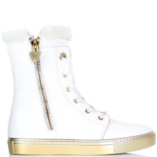 Кожаные ботинки Trend BB белого цвета на меху, фото