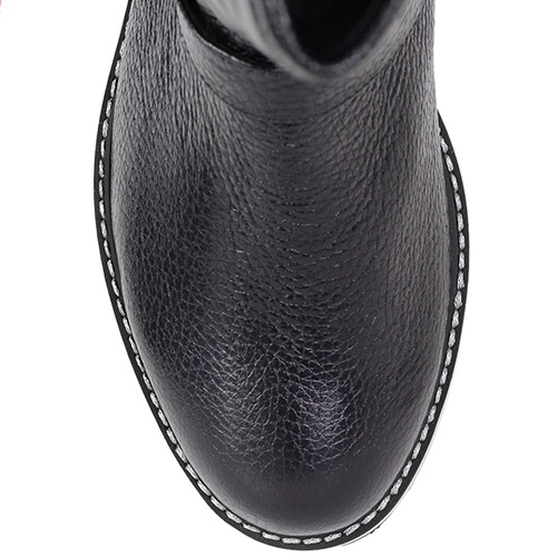 Зимние сапоги Trend BB из стеганой кожи черного цвета на тракторной подошве, фото