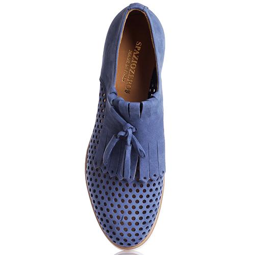 Туфли-лоферы Spaziozero8 синего цвета с перфорацией, фото