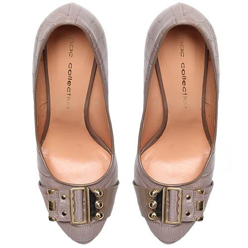 Кожаные туфли бежевого цвета с тиснением под рептилию MAC Collection, фото