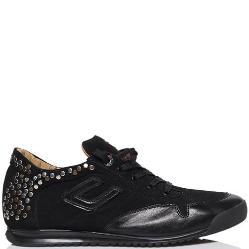 Замшевые кроссоовки черного цвета Cesare Paciotti украшенные заклепками, фото