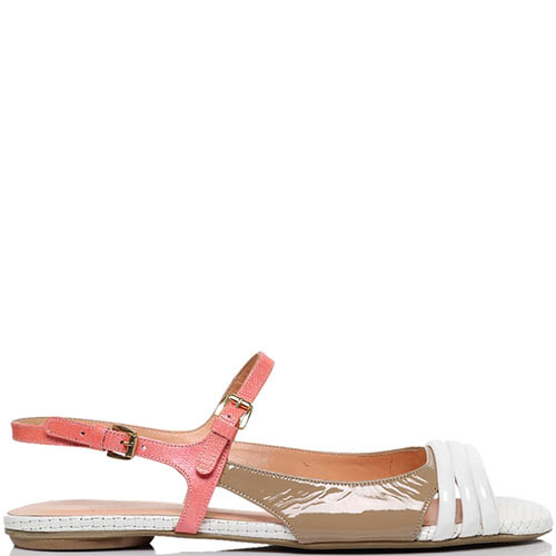 Босоножки из лаковой кожи бежевого цвета с розовыми деталями MAC Collection, фото
