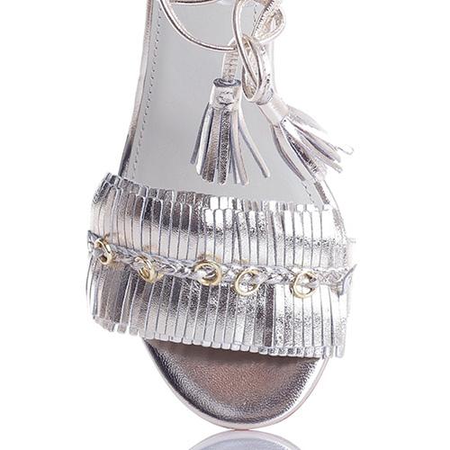 Серебристые босоножки Apepazza с бахромой и золотым декором, фото