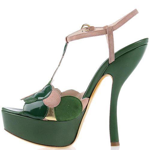 Босоножки Giordano Torresi Ibiza зеленого цвета на высоком изогнутом каблуке, фото
