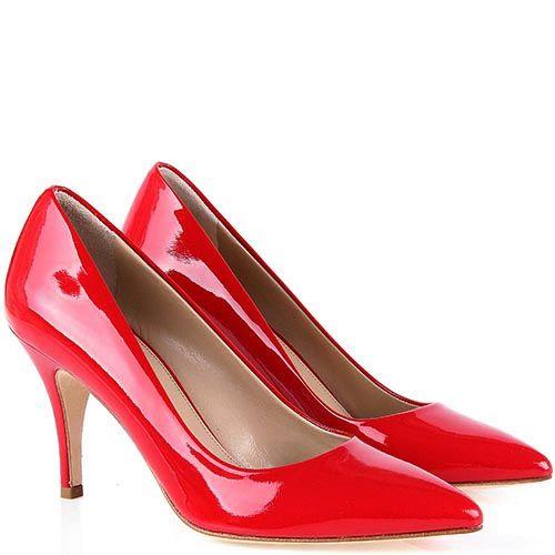Туфли-лодочки The Seller Julie Dee из лаковой кожи ярко-красного цвета, фото