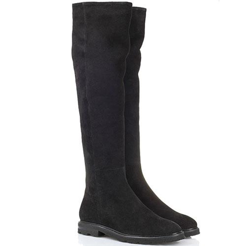 Замшевые зимние сапоги-ботфорты The Seller Jullie Dee черного цвета на толстой подошве, фото