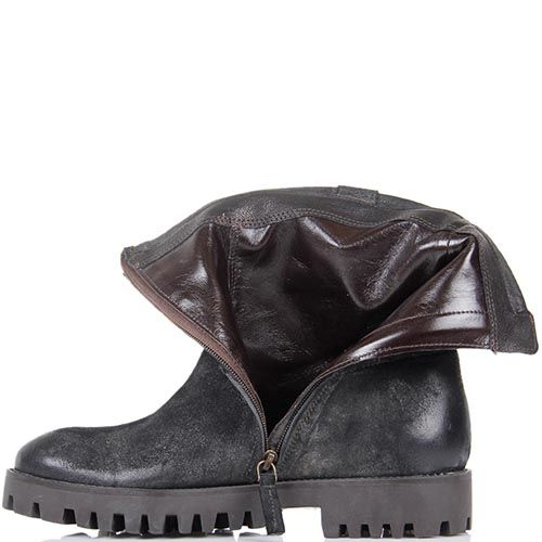 Ботинки The Seller JD черного цвета из замши с бахромой и подошвой коричневого цвета, фото