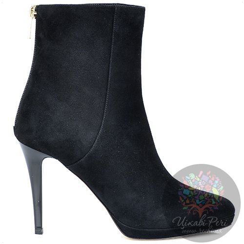 Ботинки Jimmy Choo осенние черные замшевые на лаковой шпильке, фото