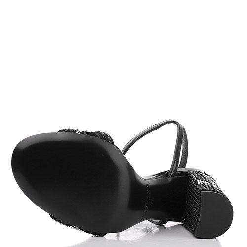 Черные босоножки John Richmond с декором-стразами, фото