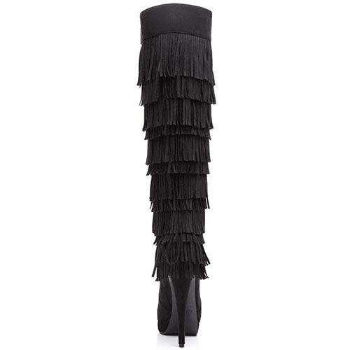 Замшевые сапоги Kandee черного цвета с многослойной бахромой, фото