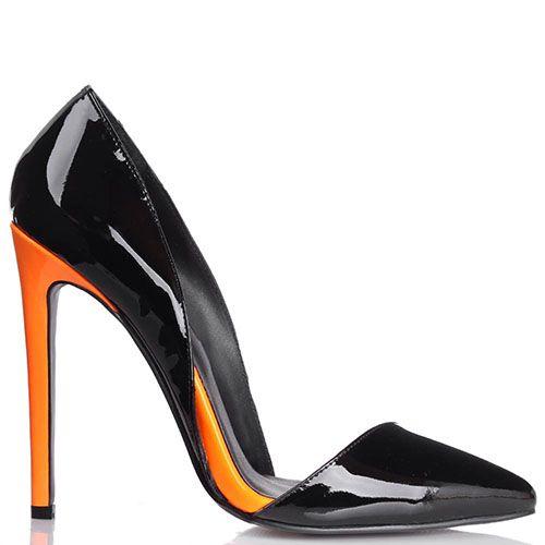 Туфли-лодочки Kandee лаковые черного цвета с каблуком ярко-оранжевого цвета, фото