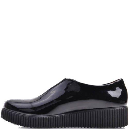 Ботинки Prego черного цвета лаковые с плоской подошвой, фото