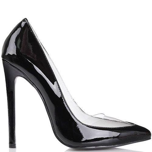 Туфли-лодочки Kandee лаковые черного цвета с прозрачной вставкой на носочке, фото