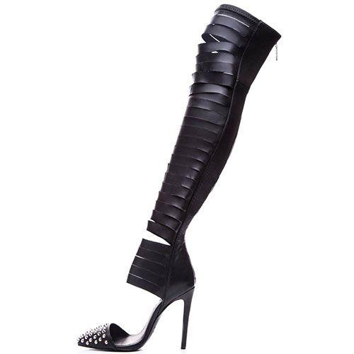 Ботфорты Kandee черного цвета с прорезями и острым носочком, фото