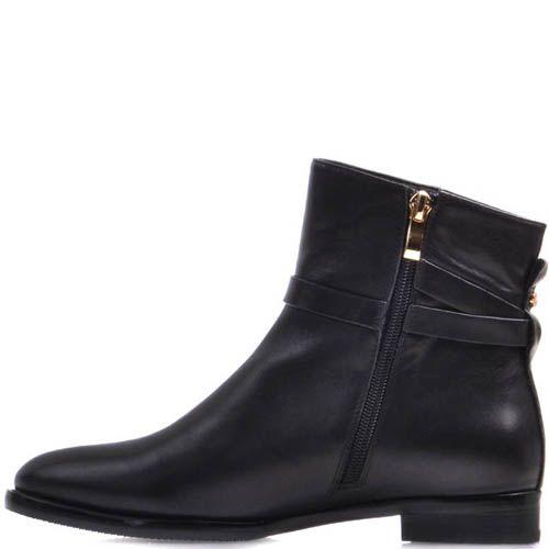 Ботинки Prego черного цвета кожаные с узким носком и прямоугольной металлической вставкой, фото