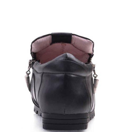 Ботинки Prego спортивные черного цвета из мягкой кожи с молниями, фото