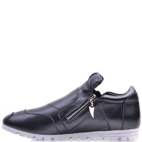 Ботинки Prego спортивные серого цвета из мягкой кожи с молниями, фото