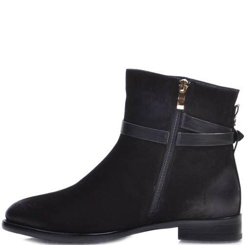 Ботинки Prego зимние черные из нубука с декоративными потертостями на носке и пятке и с ремешком, фото