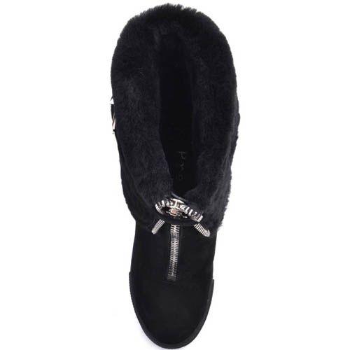 Ботинки Prego зимние черные с меховым отвором украшеным ремешком и с металлической молнией, фото