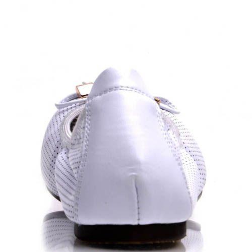 Балетки Prego белого цвета на резинке, фото
