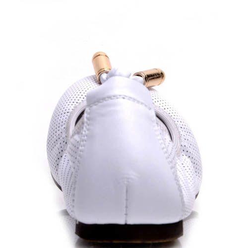 Балетки Prego белого цвета на резинке с металлическим декором, фото