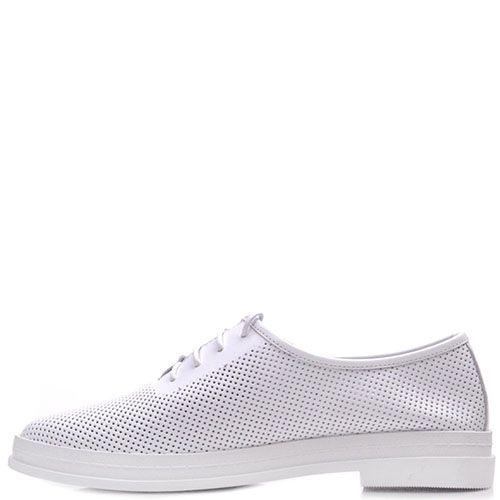 Туфли Prego из натуральной перфорированной кожи белого цвета на шнуровке, фото