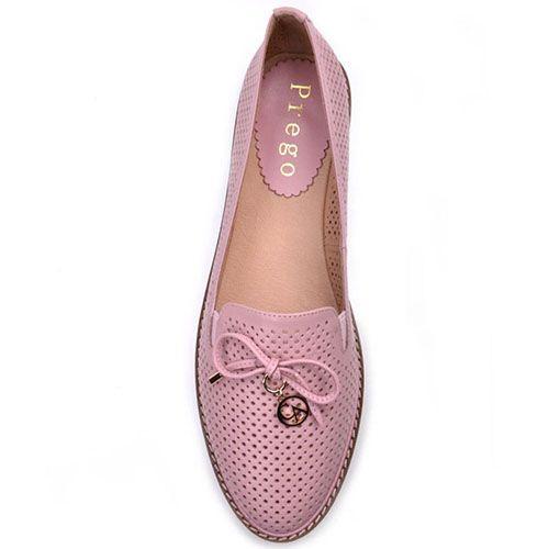 Туфли Prego из кожи розового цвета с перфорацией, фото