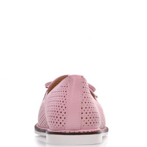 Туфли Prego из натуральной кожи розового цвета с перфорацией, фото