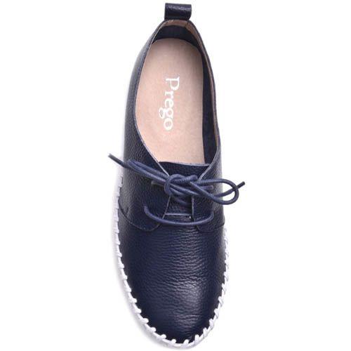 Туфли Prego кожаные синего цвета с рельефной подошвой, фото