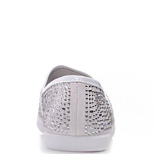 Туфли Prego из натуральной белой замши со стразами, фото