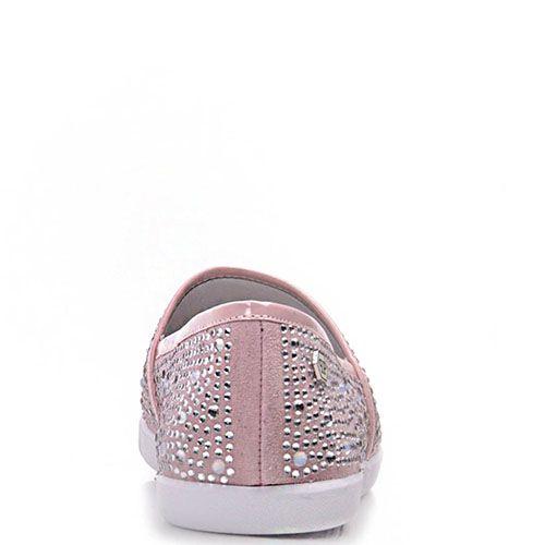 Туфли Prego из натуральной замши розового цвета со стразами по всей поверхности, фото