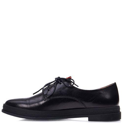 Туфли Prego из натуральной глянцевой кожи черного цвета на низком каблуке, фото