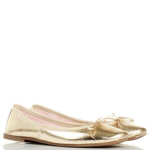 Балетки Ovye золотистого цвета с бантиком, фото