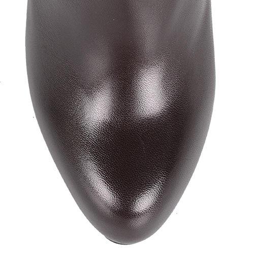 Кожаные ботильоны на шпильке Cafe Noir Linea Glamour коричневые с фигурным верхом, фото