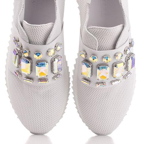 Белые кроссовки Le Silla с декором-камнями, фото