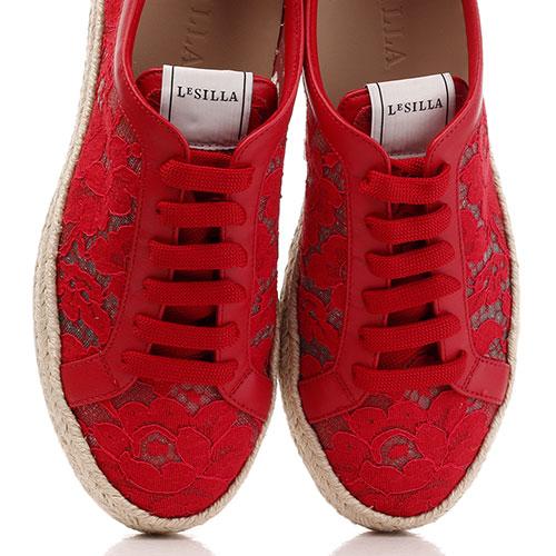 Кружевные кеды Le Silla красного цвета, фото