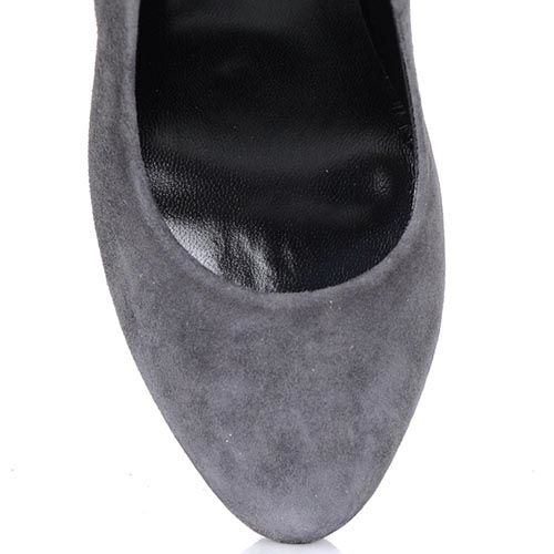 Туфли Loriblu из серой натуральной замши на шпильке с бахромой, фото
